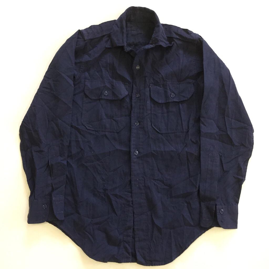 アメリカ古着 長袖シャツ コットンシャツ 送料無料 S-XS/紺・ネイビー 輸入品 USA ミリタリー ARMY ワークシャツ ラウンド 無地 古着卸 業販