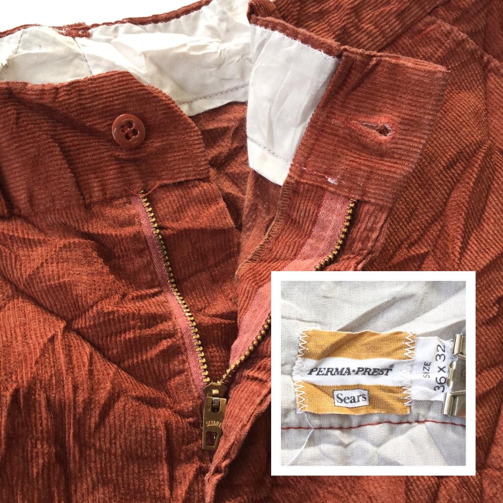 Sears シアーズ オールド アメリカ直輸入 コーデュロイパンツ メンズ W36/茶 送料無料 PERMA-PREST コーズ コール天 Scovill zipper スコービル ジッパー XL 大きい ビッグ LL O ワークパンツ スラックス 綿パン 古着卸 業販