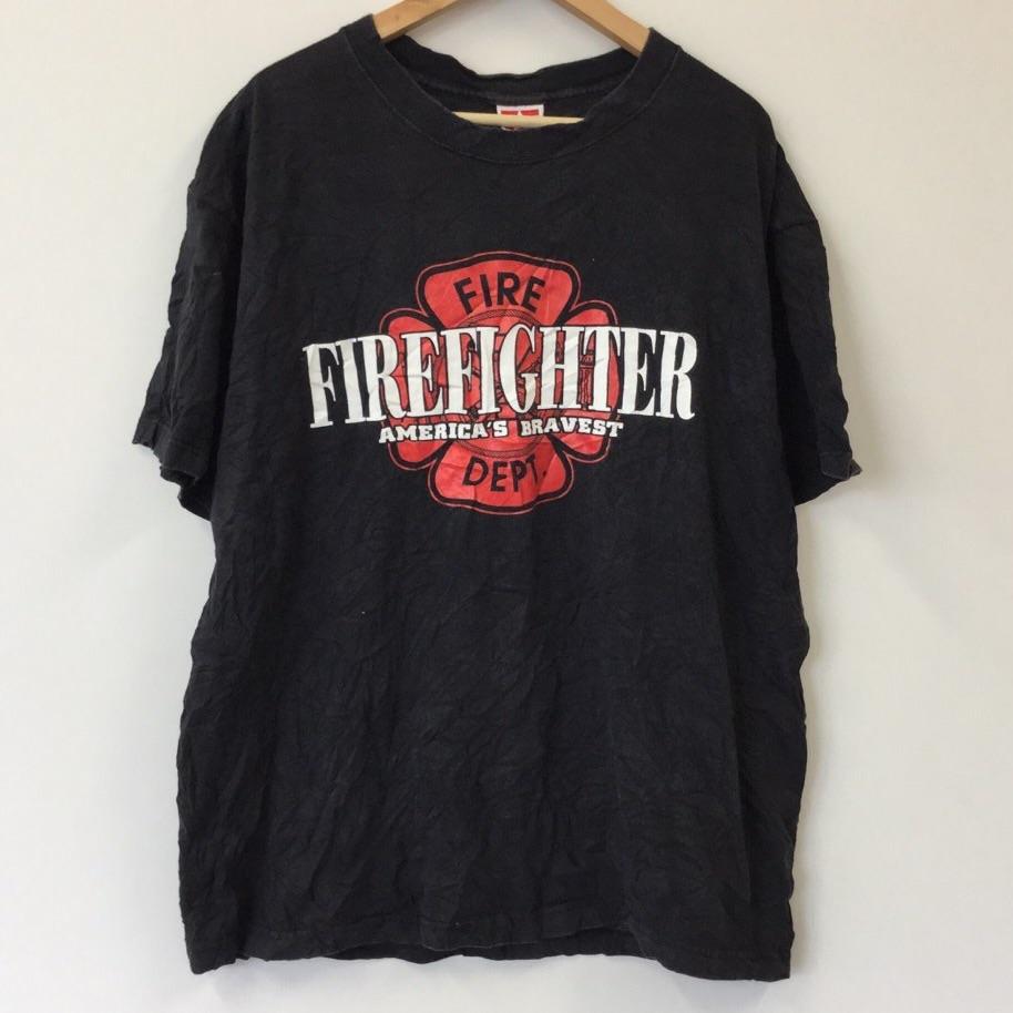 PROPPER FIRE-DEPT 消防署 半袖Tシャツ サイズXL 黒色 MADE IN USA 消防隊員 アメリカ輸入