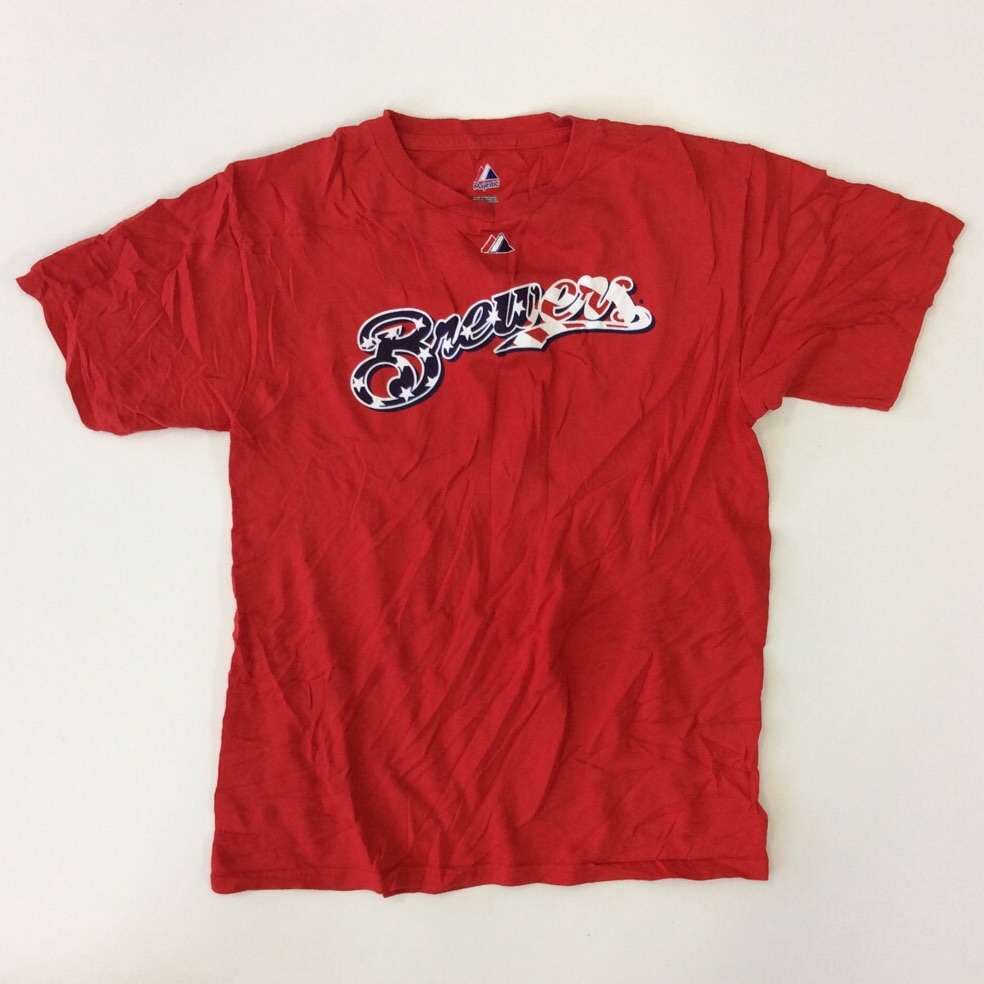 Brewers ブリュワーズ MLB マジェスティック 半袖Tシャツ S-M/赤 送料無料 アメリカ輸入 Majestic メジャーリーグ 大リーグ ベースボール 野球 スポーツ 星条旗 アメリカ国旗 USA