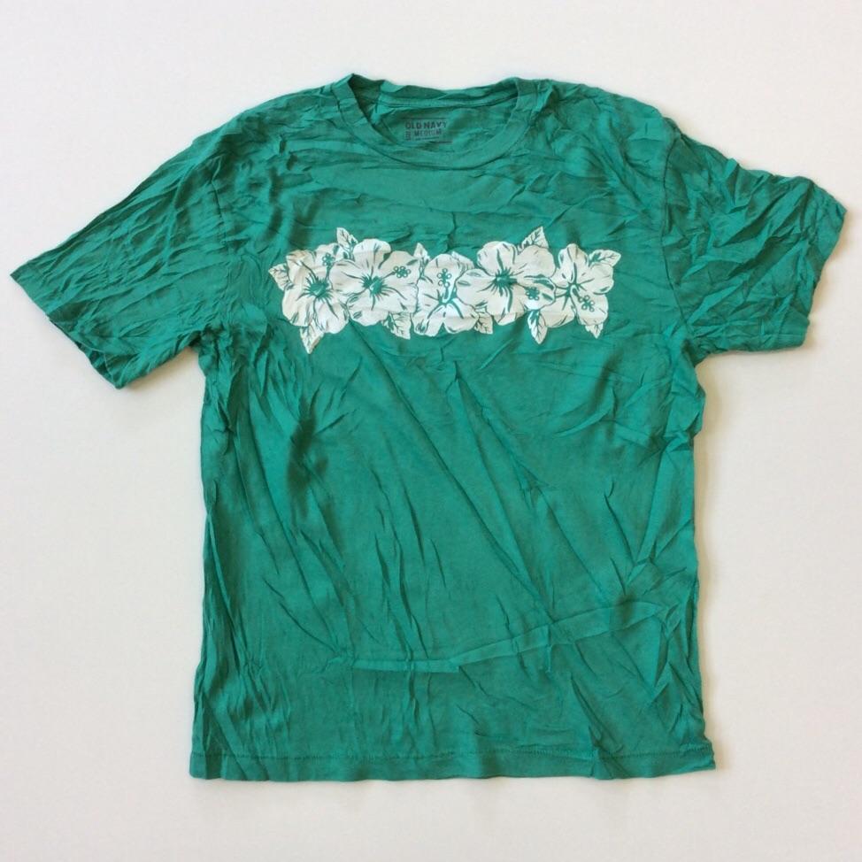 OLD NAVY オールドネイビー アメリカ輸入 ハイビスカス 半袖Tシャツ M/グリーン 送料無料 ハワイ ライン USA アメカジ マリン ビーチ