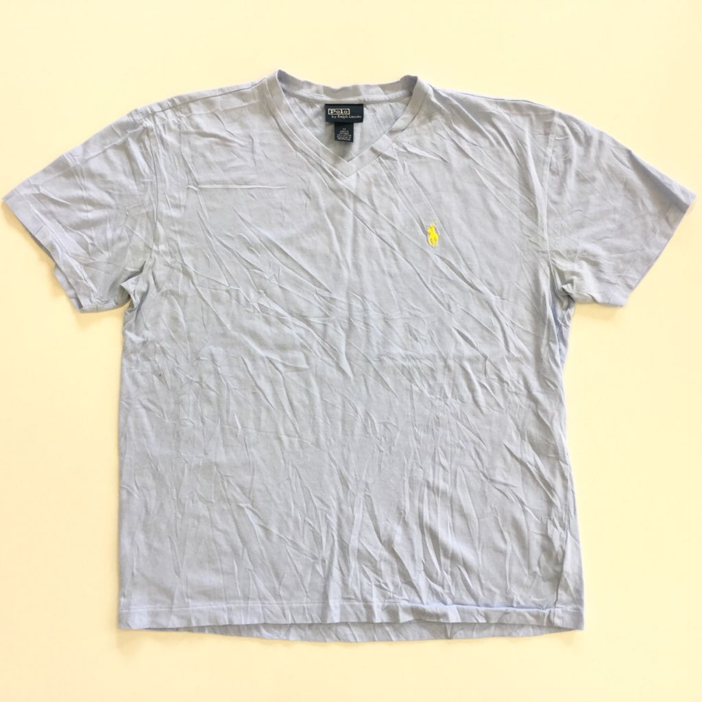 Polo by Ralph Lauren ポロ ラルフローレン 半袖Tシャツ Vネック 送料無料 M/水色 アメリカ輸入 ワンポイント USA ブランド シンプル ロゴ