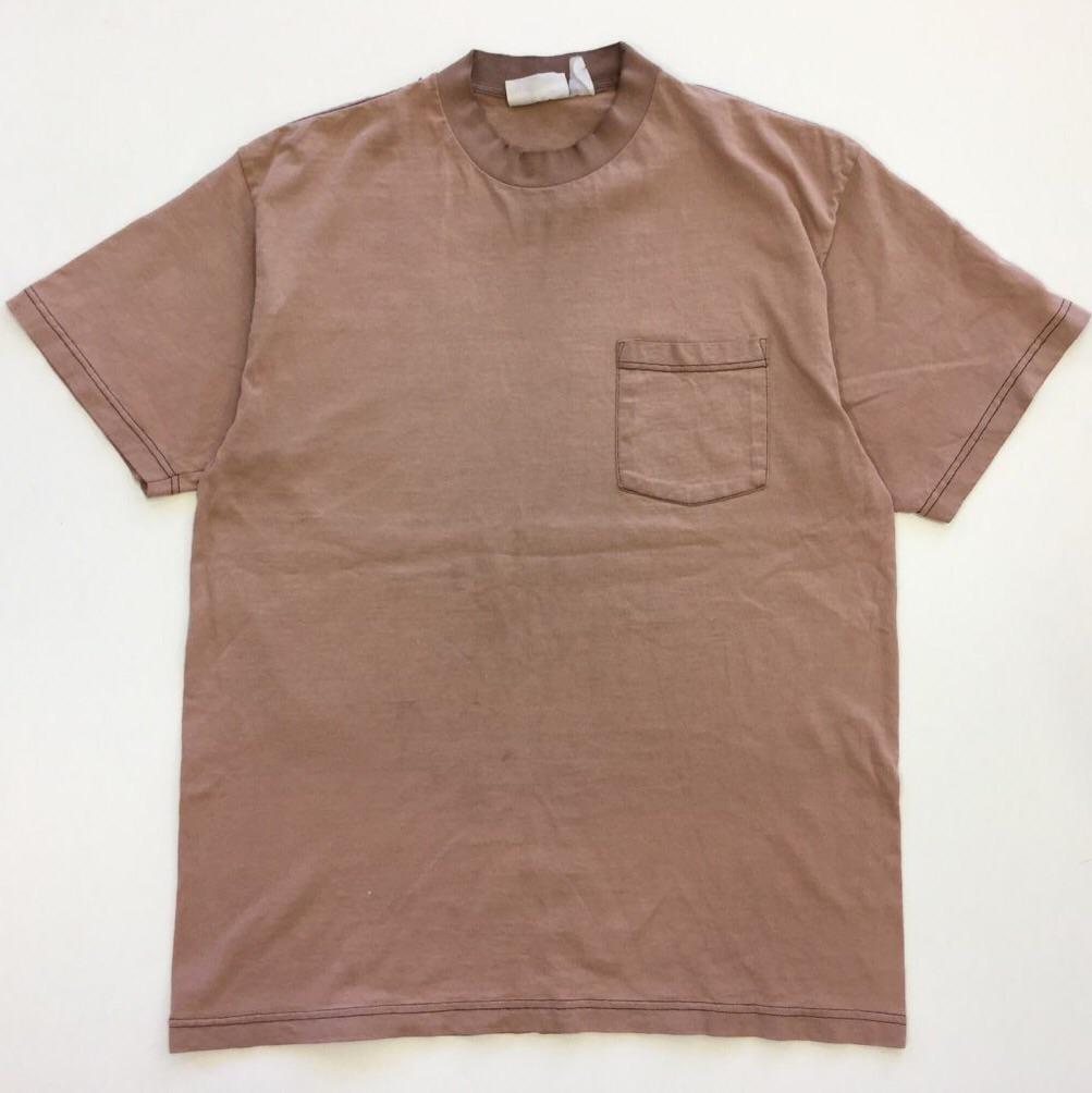 アメリカ輸入 半袖Tシャツ 送料無料 XL/ココア USA古着 ポケットTシャツ 黒糸ステッチ 大きい ビッグ
