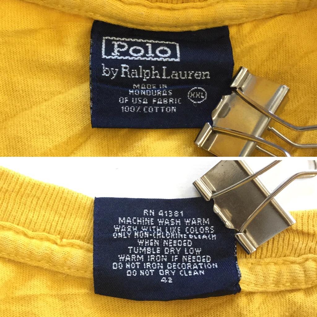 Polo by Ralph Lauren ポロ ラルフローレン 半袖Tシャツ プリントT メンズ XXL/黄色系 アメカジ RL スポーツ ぽろアメリカ直輸入 古着卸 業販