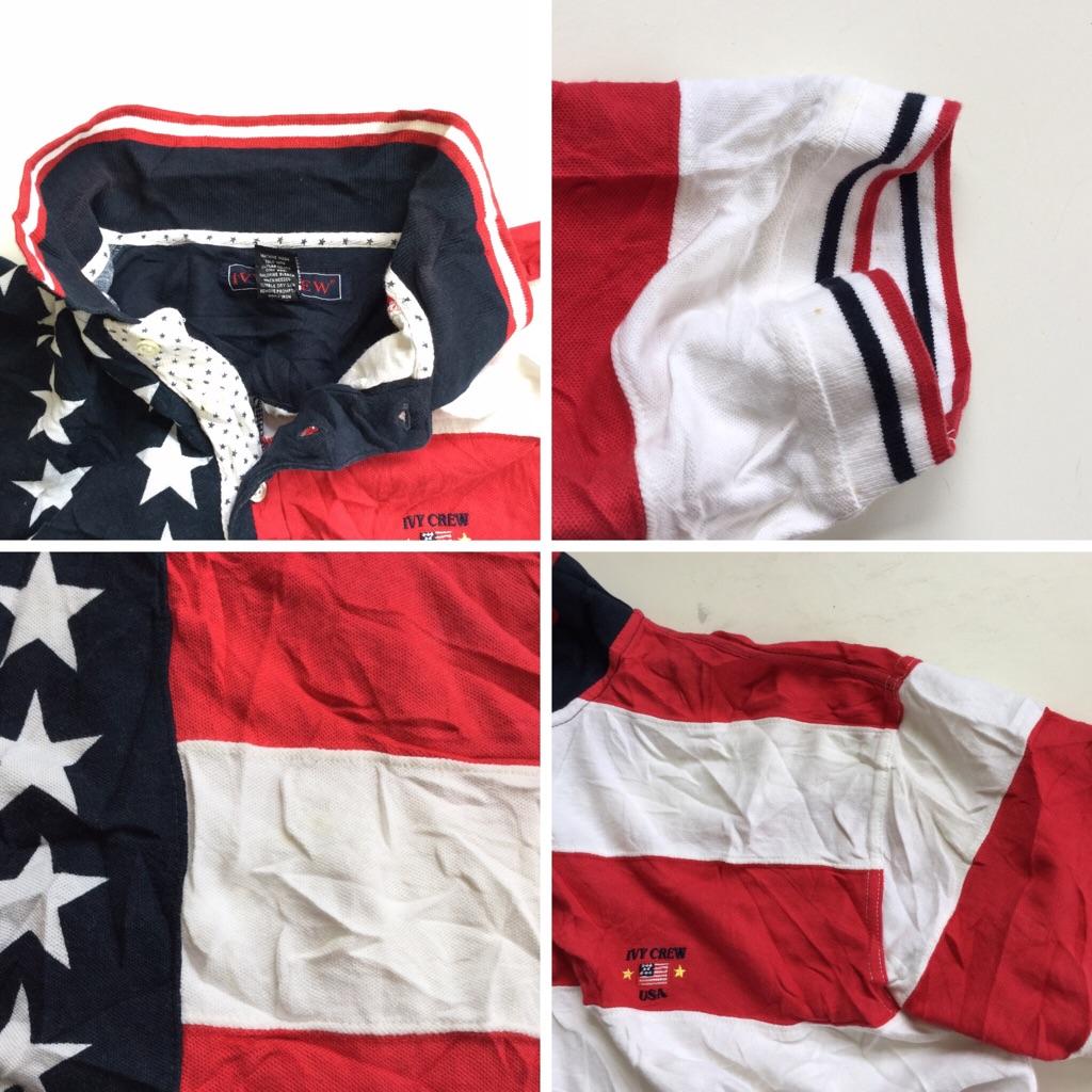 IVY CREW 星条旗柄 半袖ポロシャツ 送料無料 メンズ XL/紺x白x赤 アメリカ直輸入 USA 星 ボーダー アメカジ スポーツ ゴルフ 鹿の子 古着卸 業販 大きい ビッグ オーバー