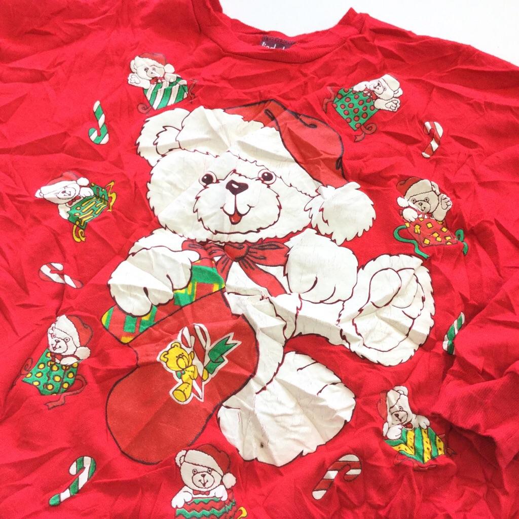 アメリカ古着 クリスマス しろくまスウェット トレーナー 送料無料 レディース M/赤・レッド プレゼント サンタ キャンディ X'mas MADE IN U.S.A. アメカジ 古着卸 送料無料