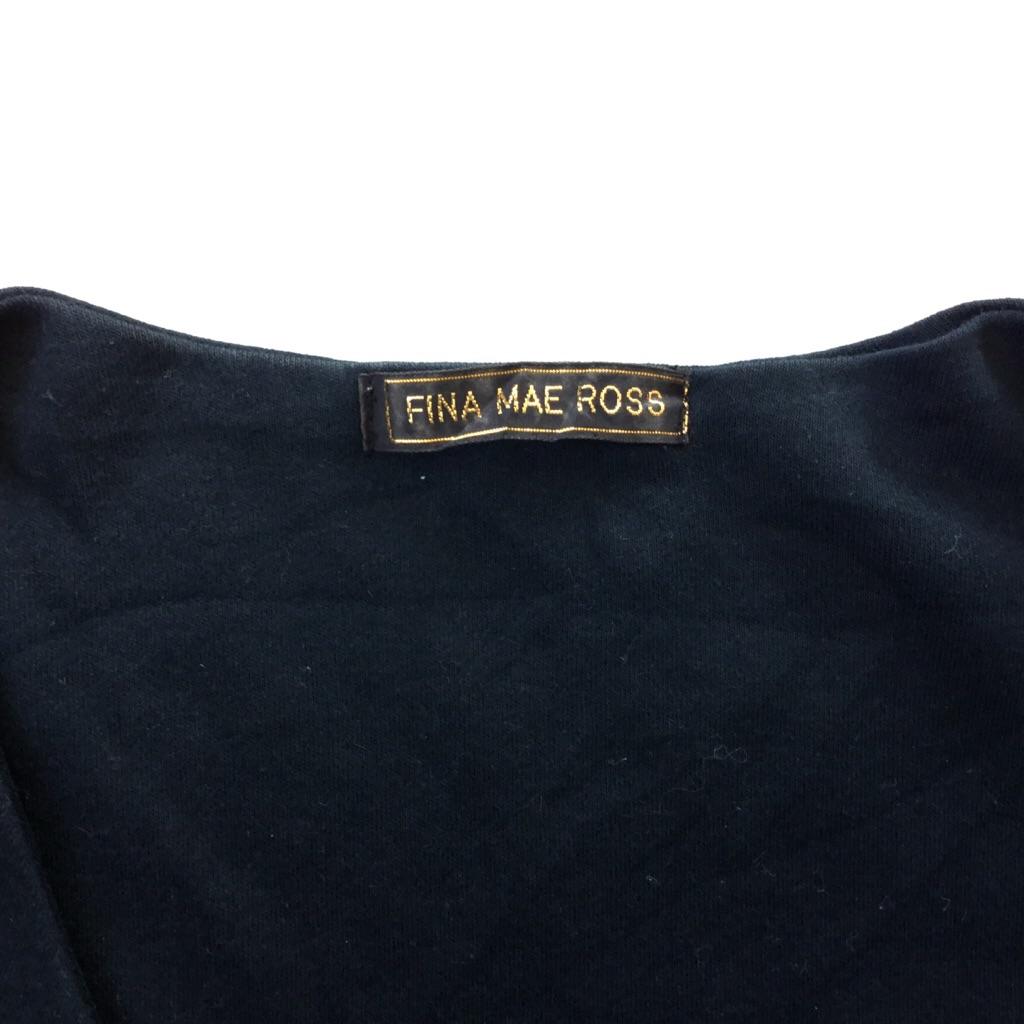 FINA MAE ROSS アメリカ古着 フリンジボレロ ショートジャケット 送料無料 レディース L-XL/黒・ブラック カーディガン ガウン モード ネイティブ エスニック USA アメカジ 輸入品 古着卸 業販 大きい ビッグ オーバー