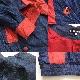 LIZZIANA アメリカ古着 Gジャン デニムジャケット 送料無料 レディース 8/デニムブルーx赤 ノーカラージャケット ショート 輸入品 USA 古着卸