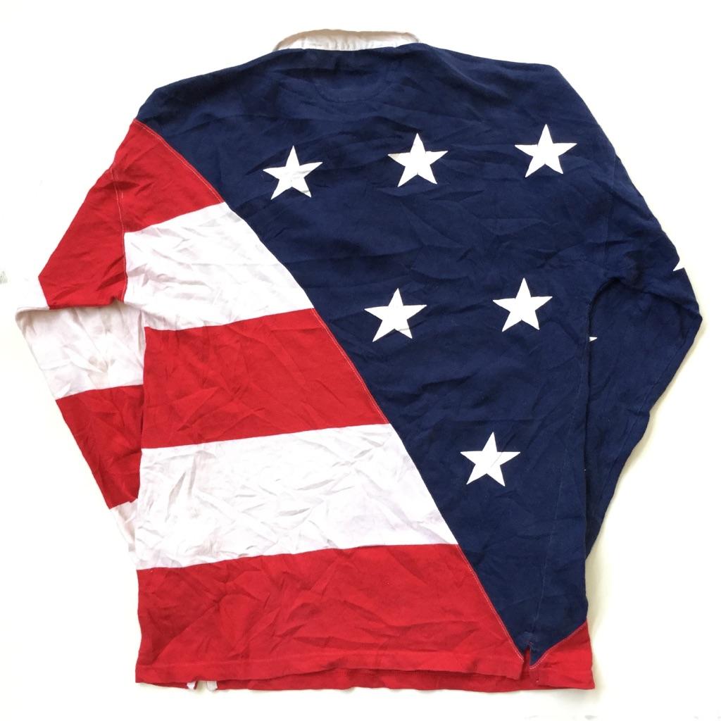 BRITGHES 星条旗 ラグビーシャツ ラガシャツ 送料無料 メンズ M/紺x赤x白 長袖ポロシャツ スター ストライプ アメリカ直輸入 スポーツ USA アメカジ 古着卸 業販