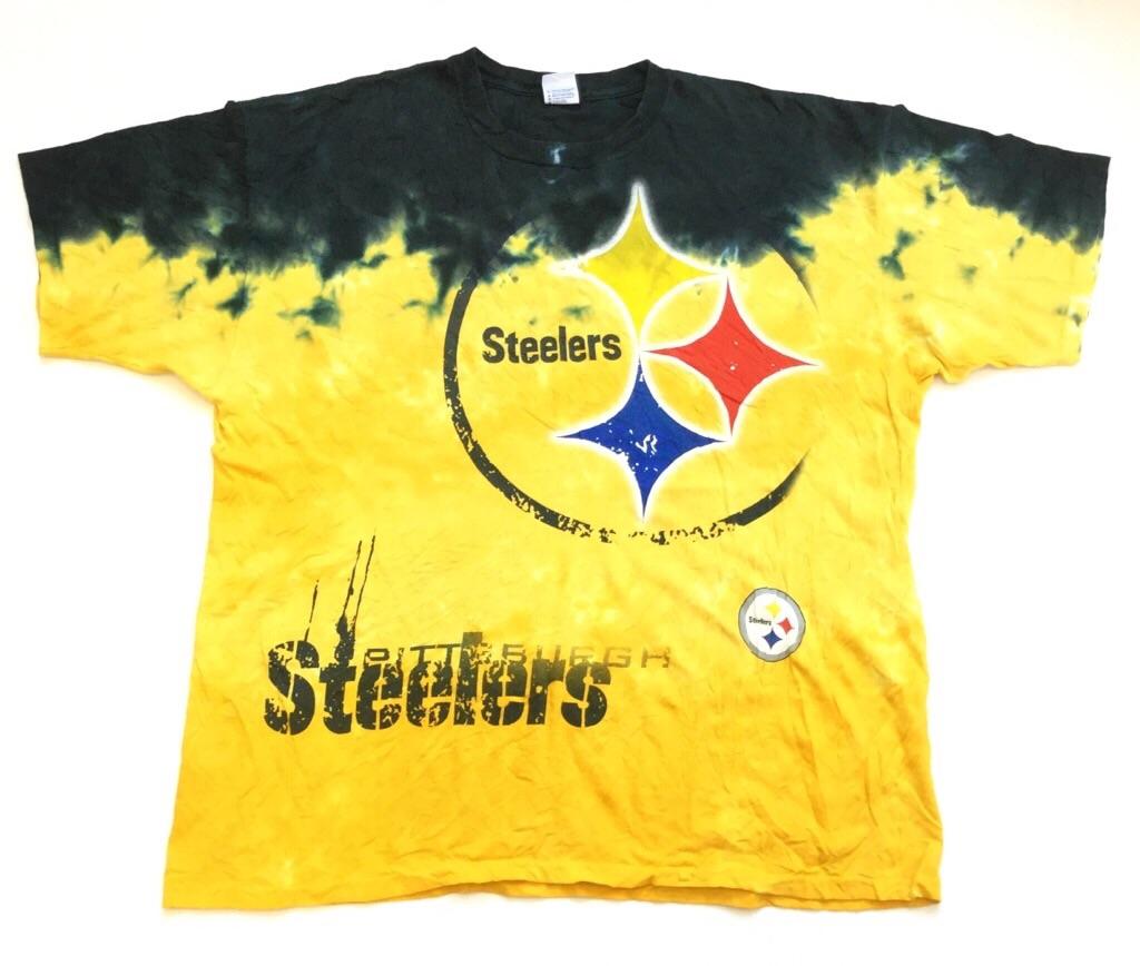NFL Steelers スティーラーズ ピッツバーグ アメフト 半袖タイダイTシャツ 送料無料 メンズ 2X/イエローxブラック アメリカ直輸入 USA スポーツ フットボール アメカジ オーバー 大きい ビッグ アメリカ直輸入 古着卸 業販