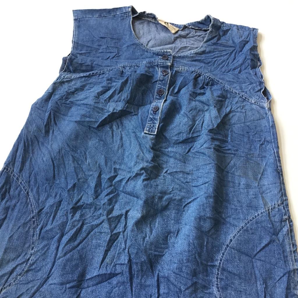 TIME & TIME AGAIN アメリカ直輸入 デニムワンピース ジャンパースカート 送料無料 レディース L/デニムブルー ロングスカート ノースリーブ ドレス ギャザー USA 古着御 業販