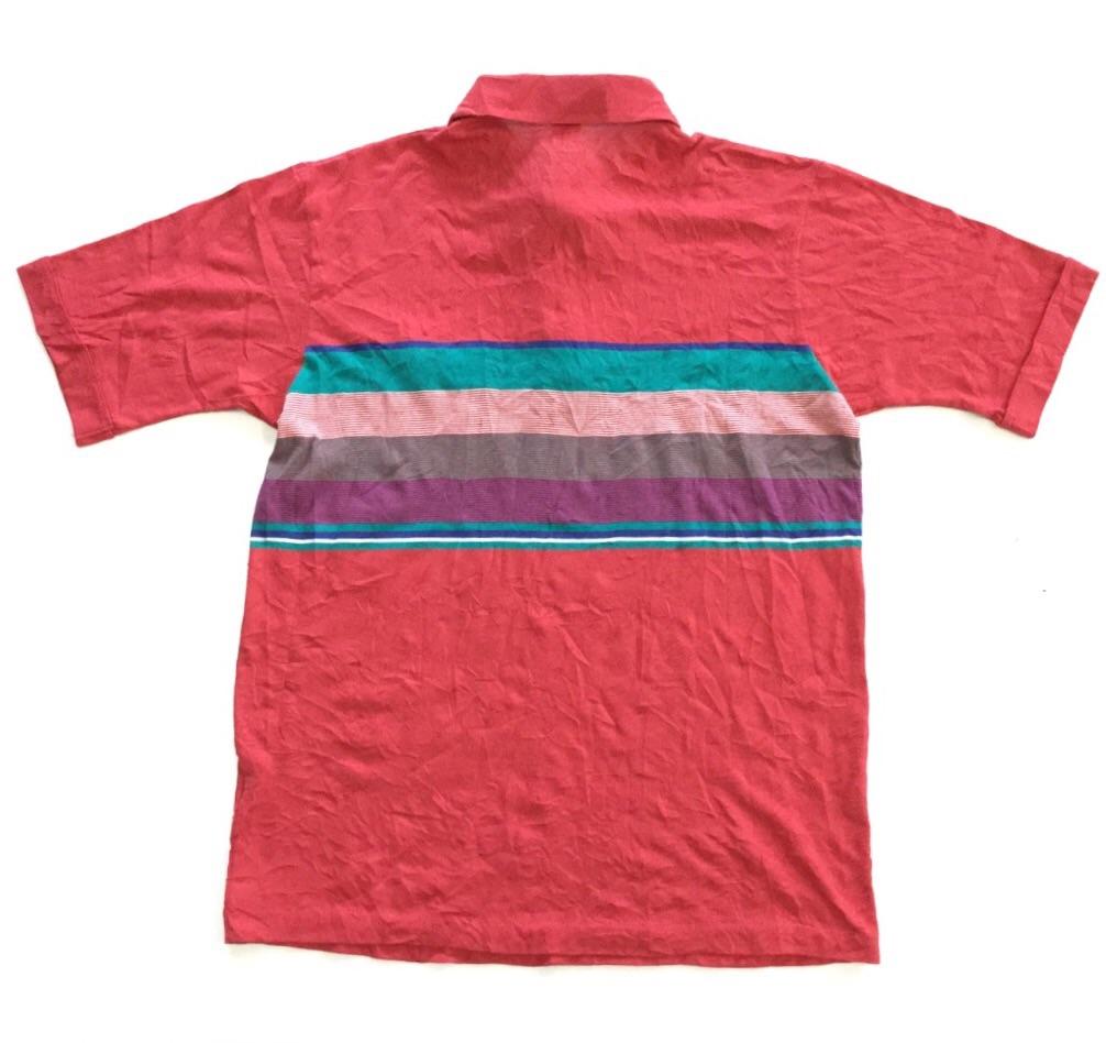 TOURNAMENT by Arrow アメリカ直輸入 半袖ポロシャツ メンズ L/赤xマルチ ボーダー 胸ポケット ゴルフ スポーツ アメカジ 送料無料 USA 古着卸 業販