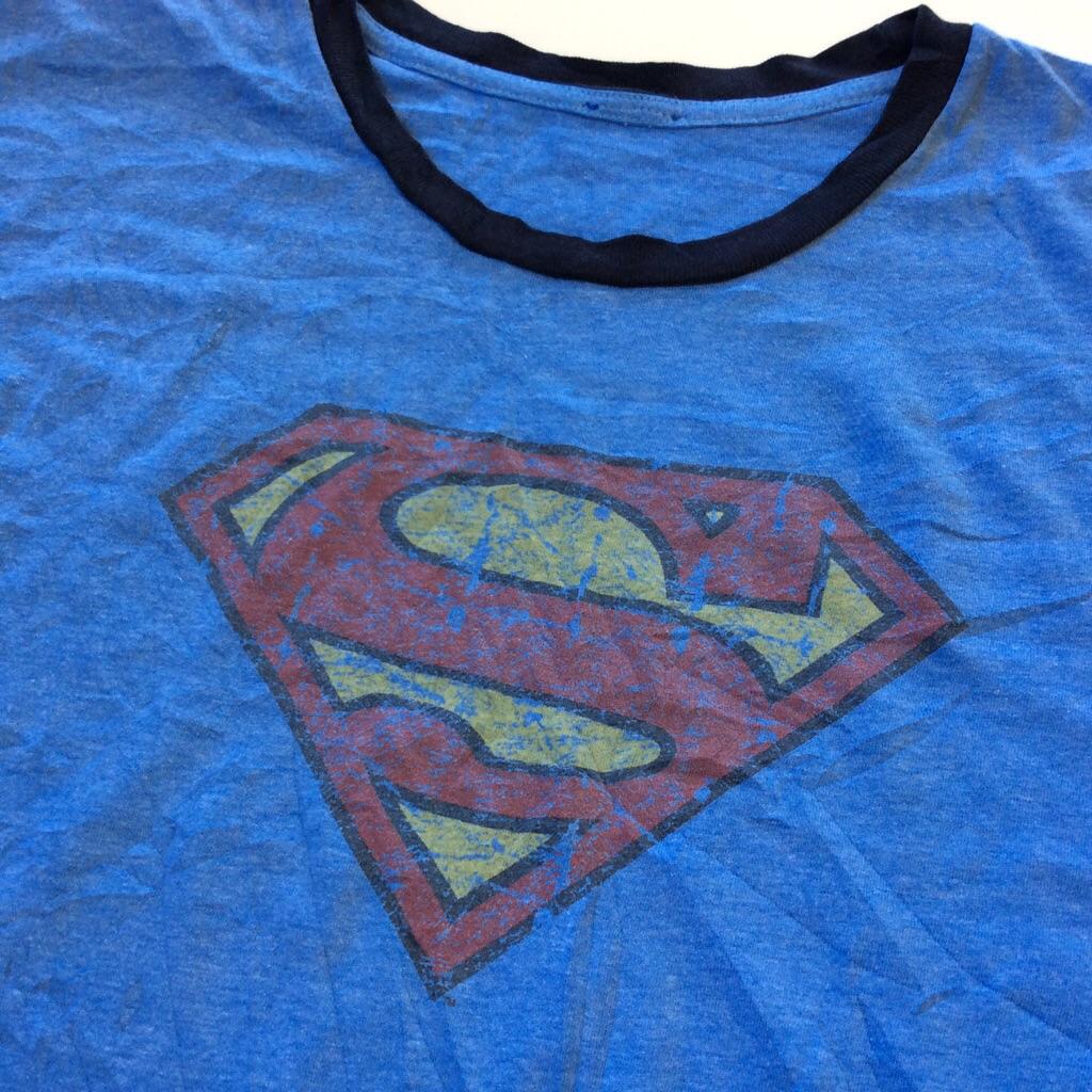 SUPERMAN スーパーマン 半袖リンガーTシャツ ロゴ 送料無料 M-L/青・ブルー アメリカ直輸入 キャラT アメカジ USA トリム ムービー シネマ 映画 アメコミ キャラクター