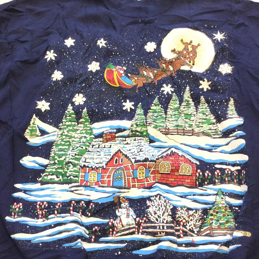 アメリカ直輸入 クリスマス レディース サンタスウェット XL-XXL程度/紺・ネイビー ツリー 雪 プレゼント トナカイ ソリ 星 X'mas スエット 古着卸 送料無料 USA 輸入品