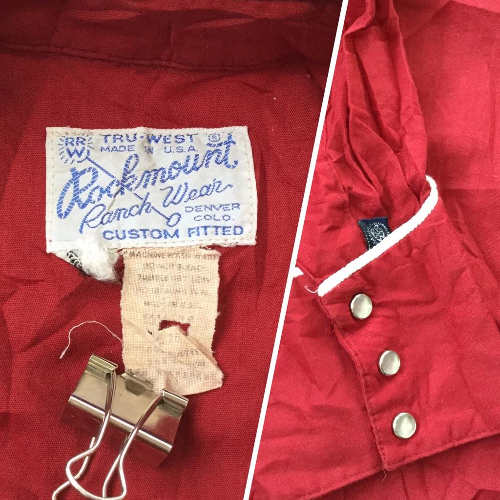 Rock mountロックマウント ビンテージ 長袖シャツ ウエスタンシャツ 送料無料 メンズ M-L/小豆色 オールド カウボーイ MADE IN USA ワーク アメカジ アメリカ直輸入 古着御 業販 ヴィンテージ