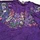 フラワー バタフライ 半袖Tシャツ アメリカ直輸入 送料無料 XL/紫・パープル MADE IN USA ラメ 花柄 チョウ 風景 アメカジ 古着卸 業販 大きい ビッグ オーバー レディース
