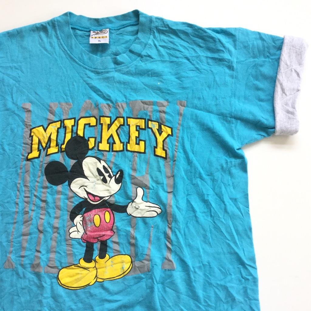 MICKEYミッキーマウス アメリカ直輸入 プリント半袖Tシャツ 袖リバーシブル 送料無料 メンズ XL/水色x霜降りグレー DISNEY ディズニー USA アメカジ ブランド キャラ 古着卸 業販 大きい ビッグ オーバー WELLINGTON APPAREL