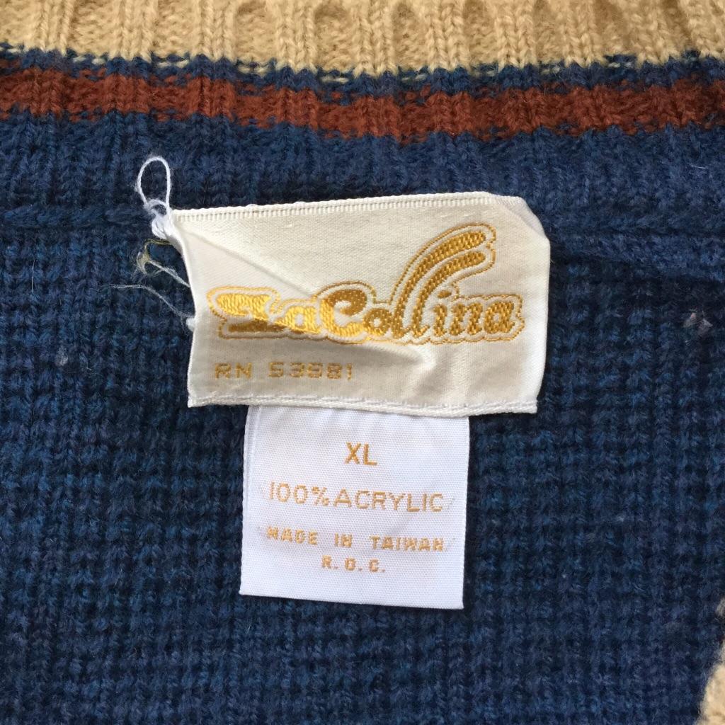 La Collinaアメリカ古着 オールド Vネックセーター アクリルニット 送料無料 メンズ XL/紺系 ライン USA シンプル 無地 ケーブル アメカジ スクール 古着卸 業販 大きい ビッグ オーバー