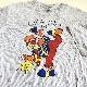 SUNBELT オールドTシャツ アメリカ直輸入 ピエロ 半袖Tシャツ 送料無料 メンズ L/白xグレー 細ボーダー シングルステッチ MADE IN USA アメカジ キャラクター 古着卸 業販