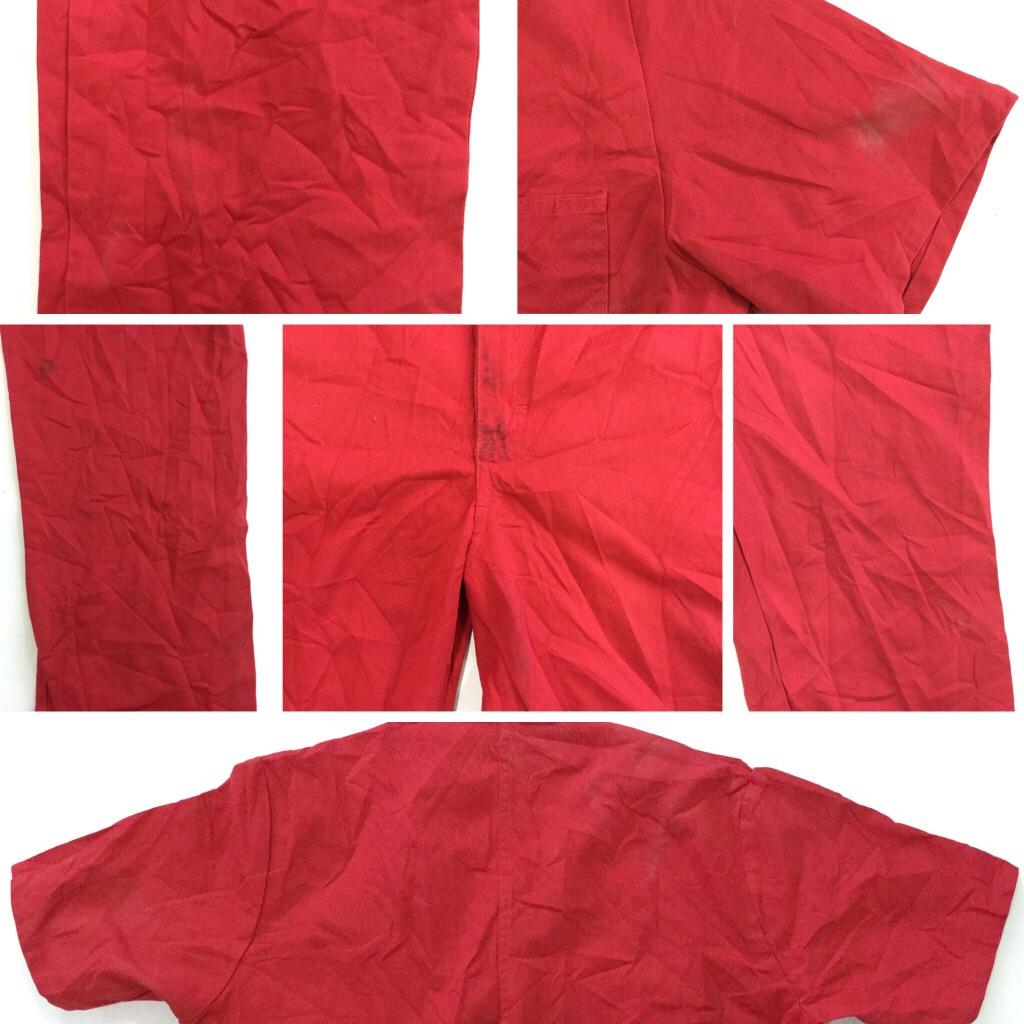 アメリカ古着 半袖ジャンプスーツ つなぎ 送料無料 メンズ M/赤・レッド オールインワン Vネック ジップアップ アメリカ輸入 送料無料 ワーク ペインター
