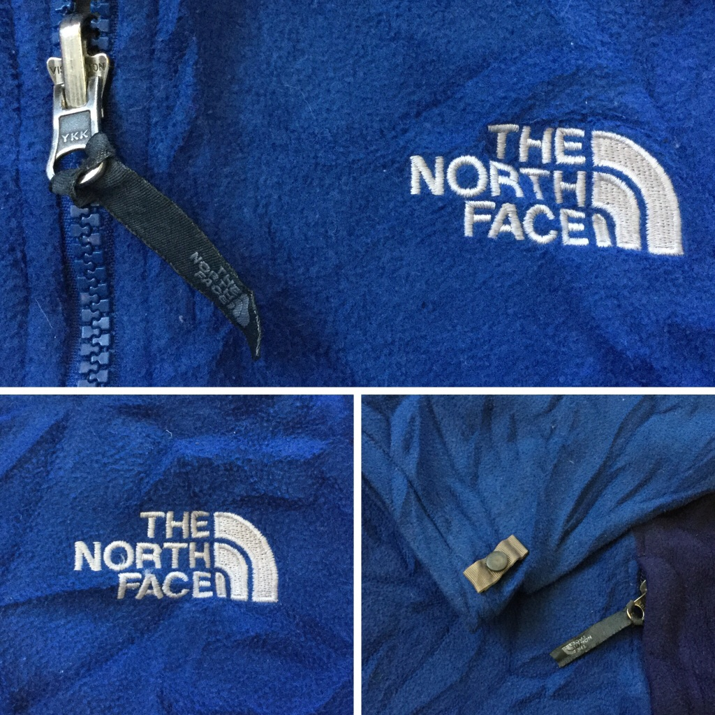 THE NORTH FACE ノースフェイス アメリカ直輸入 フリースジャケット 送料無料 メンズ L程度/青x紺 アウトドア USA アメカジ ブランド ロゴ シンプル 定番 アウター スポーツ タウン 古着卸 業販