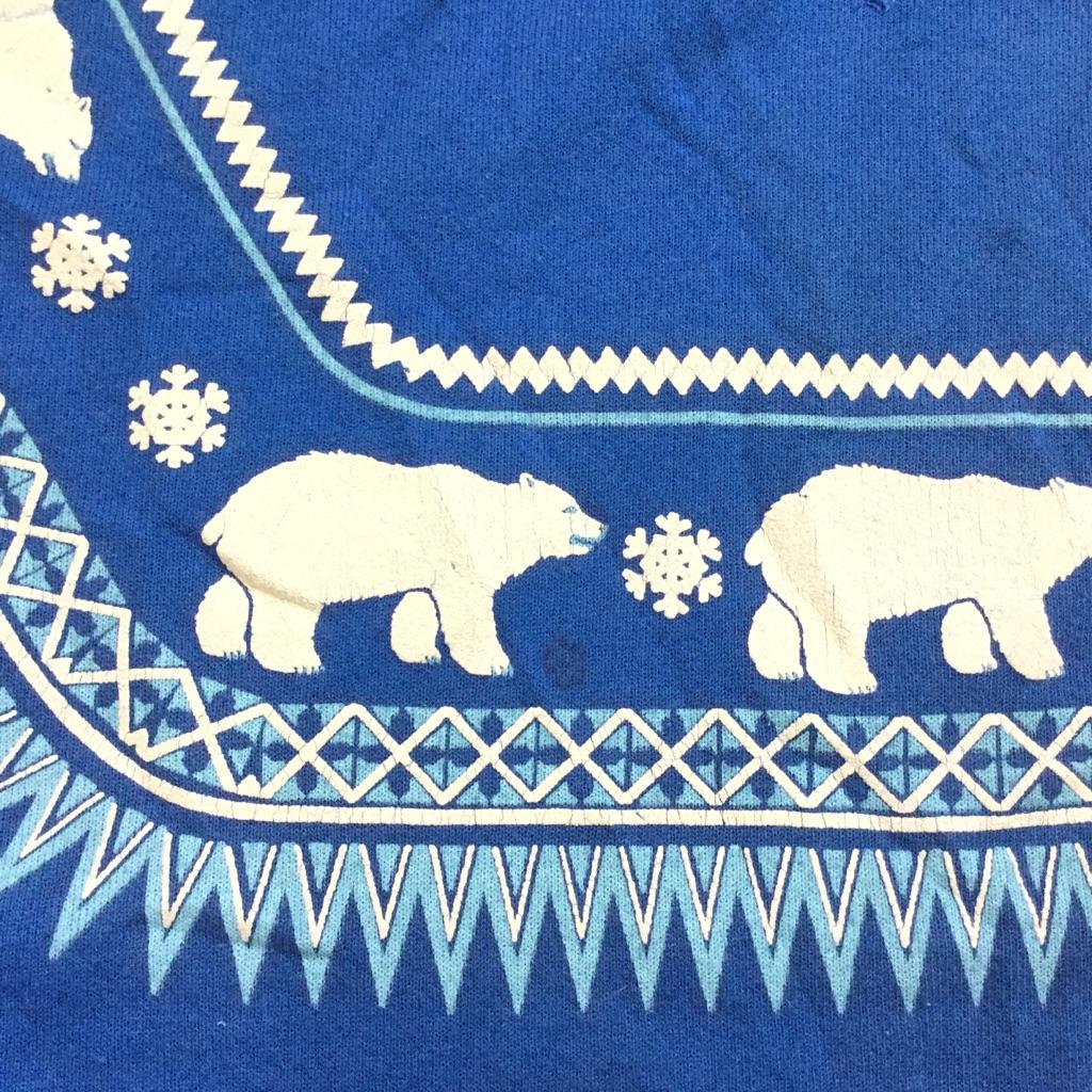 Alaska シロクマ ノルディックスウェット アメリカ直輸入 トレーナー 送料無料 メンズ M/青・ブルー Hanes CLASSICS オールド 北極熊 お土産 MADE IN USA アメカジ 古着卸 業販