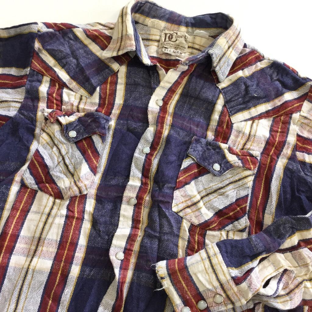 DC BRAND ディーシー 長袖シャツ ネルシャツ ウエスタン オールド 送料無料 メンズ L/紺x小豆x白 チェック カウボーイ ヘビーネル USA ワーク アメカジ 直輸入 古着御 業販