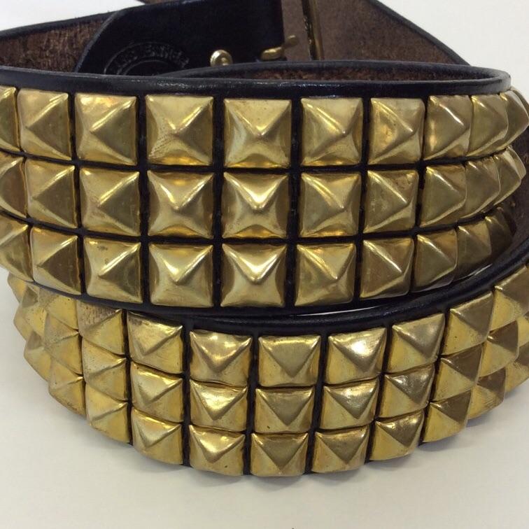 GARS LEATHER デッドストック USA製 三連スタッズベルト ゴールド ピラミッド W30,31,32,33,34 プレッピー パンク ソリッドブラス 真鍮 牛革製