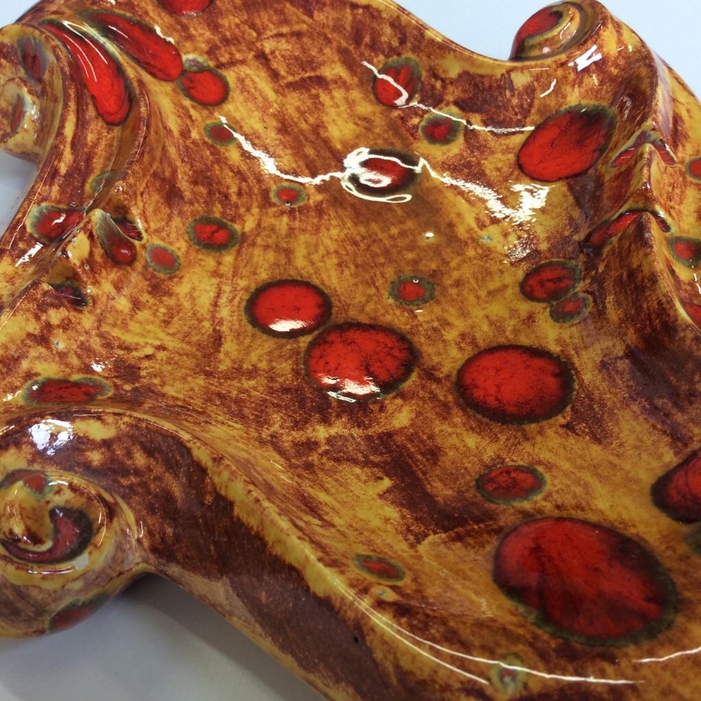 70's アンティーク アメリカ輸入 小物入れ 灰皿 陶器 大容量/茶系 オレンジ 赤 アメリカ雑貨 サイケ ドット ビンテージ