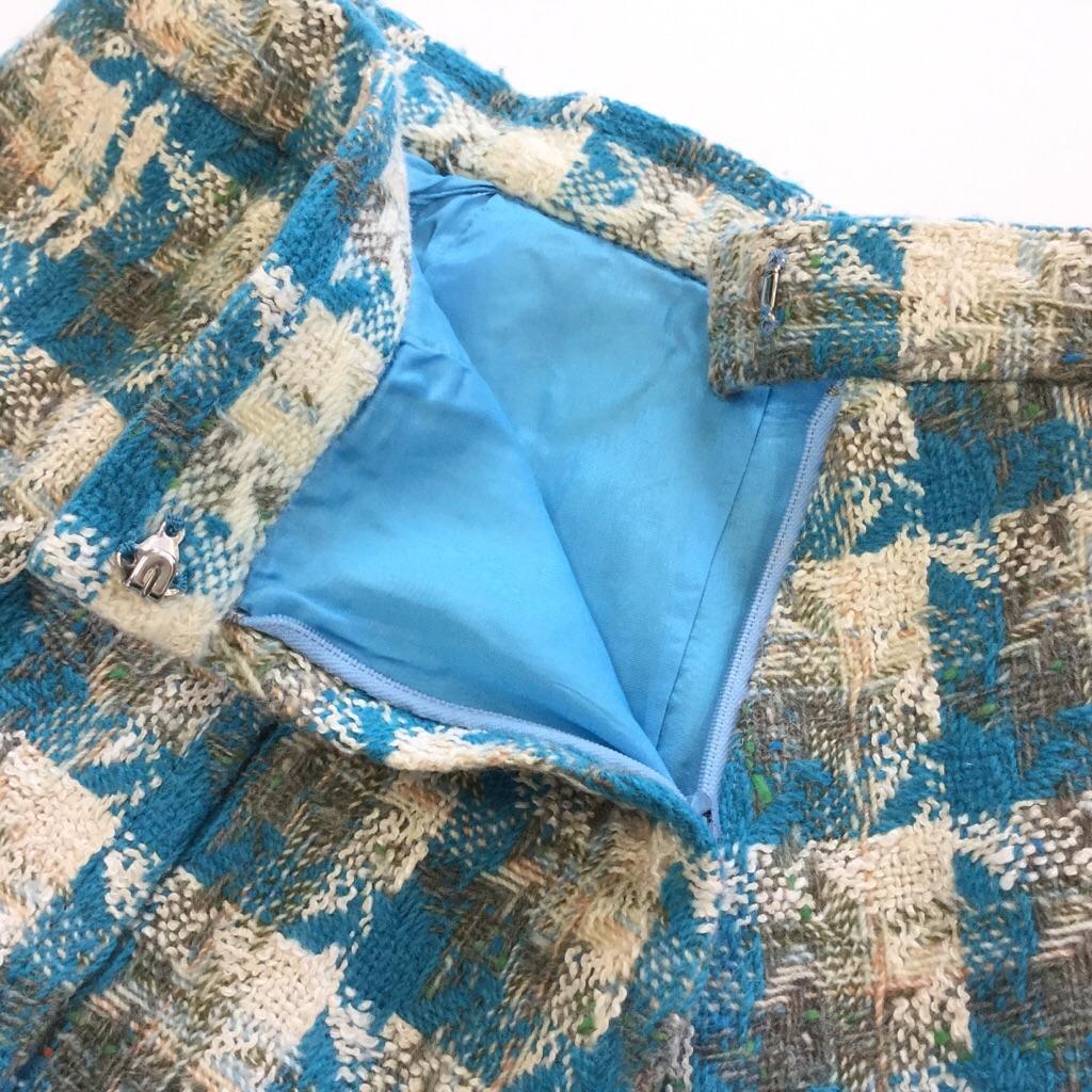 昭和レトロ ツィードスカート プリーツスカート サイズW62/水色xミックス 千鳥格子 膝丈スカート モダン レディース 国内古着 送料無料