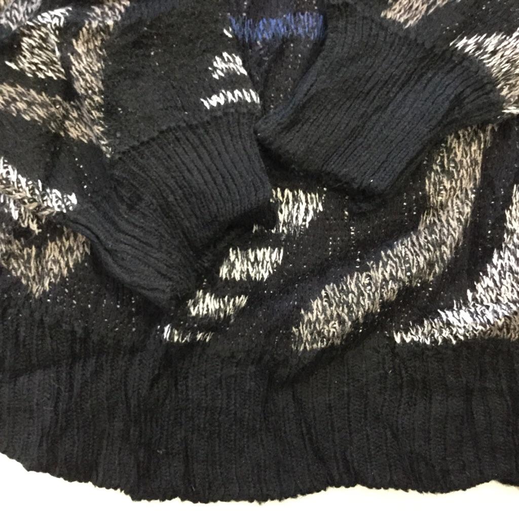 アメリカ輸入 総柄セーター ニット 送料無料 L/黒系 柄物 模様 クルーネック USA古着 古着卸 業販