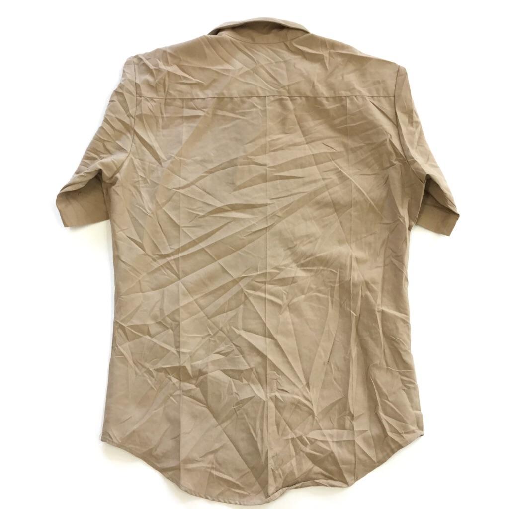 DSCP 米軍 半袖シャツ 送料無料 M/ベージュ アメリカ直輸入 USA ミリタリー ARMY ワークシャツ オープンカラー 古着卸 業販