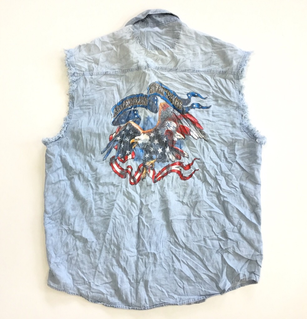 AMERICAN HERITAGE ノースリーブシャツ ダンガリー 送料無料 メンズ 3XL/アイスブルー ワシ 星条旗 星 リボン ロゴ アメリカ古着 輸入品 USA アメカジ 半袖シャツ スポーツ 古着卸 大きい ビッグ オーバー