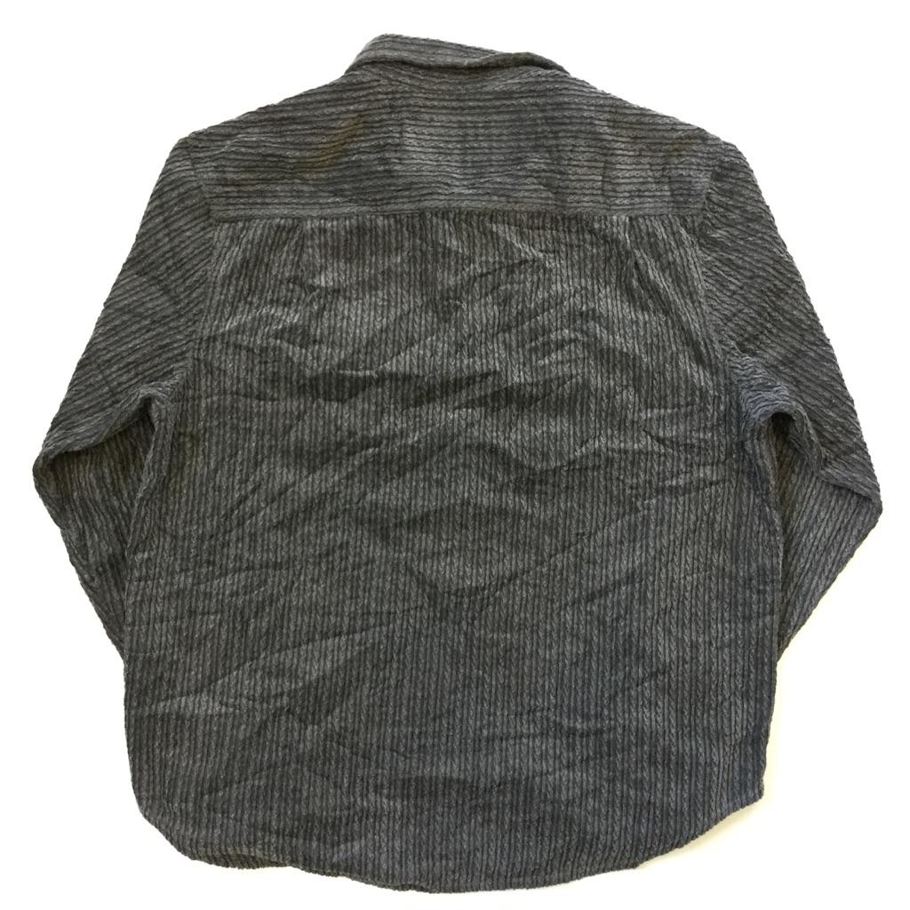 TRUE GRIT アメリカ直輸入 コーデュロイシャツ 長袖シャツ 送料無料 メンズ L程度/グレー系 無地 太うね ケーブル模様 アメカジ シャツジャケット アウトドア トラッド USA シンプル 古着卸 業販