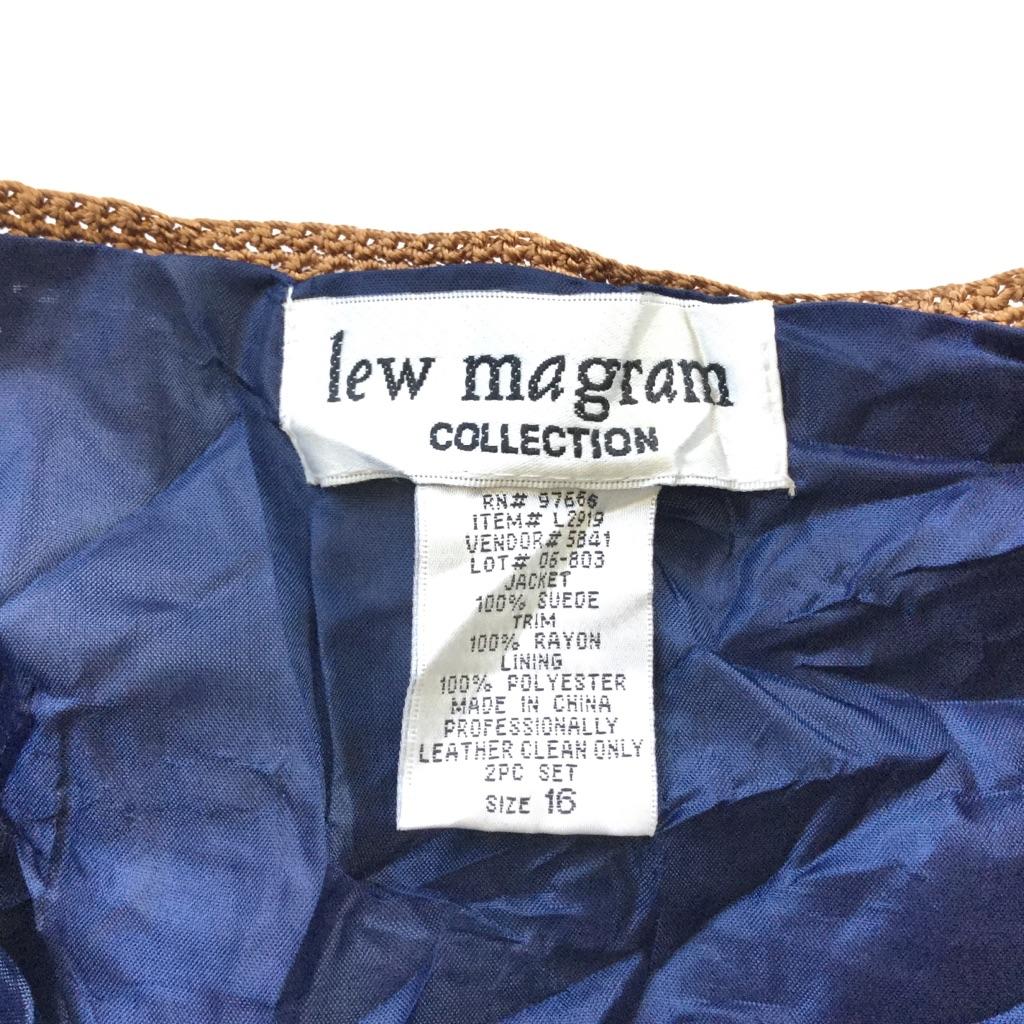 lew magram アメリカ古着 レザージャケット カーディガン 送料無料 レディース 16/群青・青系 本革 フォークロア エスニック ヒッピー パッチワーク カジュアル USA 古着卸 業販