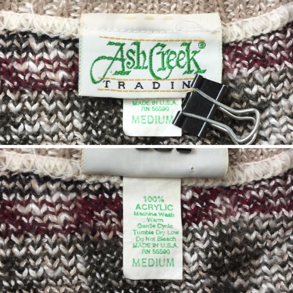 Ash Creek アメリカ古着 Vネックカーディガン 総柄セーター 送料無料 メンズ M/ベージュxエンジxカーキxブラック 柄物 アクリルニット カジュアル アメカジ MADE IN USA 古着卸 業販 米国製