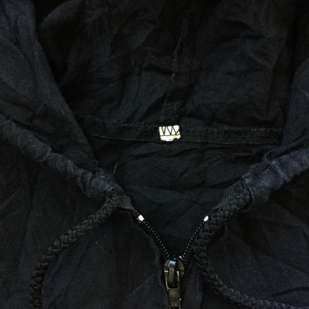 CANCUN MEXICO アメリカ直輸入 長袖ビーチジャケット コットンパーカー 送料無料 メンズ L-XL/黒・ブラック USA アメカジ スポーツ アウトドア フルジップ ライトジャケット 古着卸 業販 大きい ビッグ オーバー