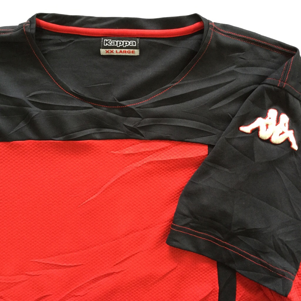 Kappa カッパ 半袖Tシャツ スポーツT 送料無料 メンズ XXL/赤x黒 ブランド ロゴ 刺繍 USA スポーツ カジュアル アメリカ直輸入 古着卸 業販 大きい ビッグ オーバー