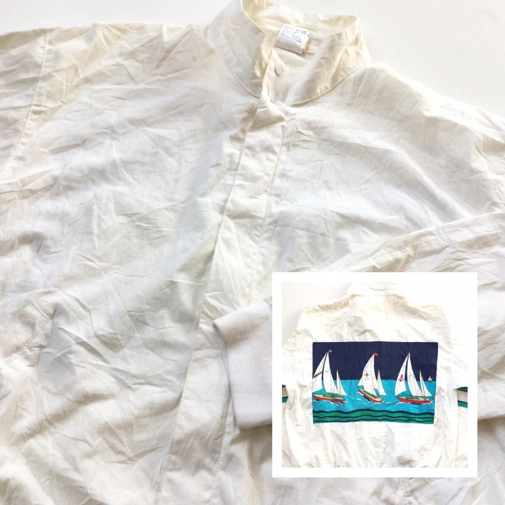 RUN・INS コットンジャケット アメリカ直輸入 スウィングトップ 送料無料 メンズ L/白・ホワイト ヨット マリン 海 ドリズラー USA ジップアップジャンパー バンドカラー 古着卸 業販