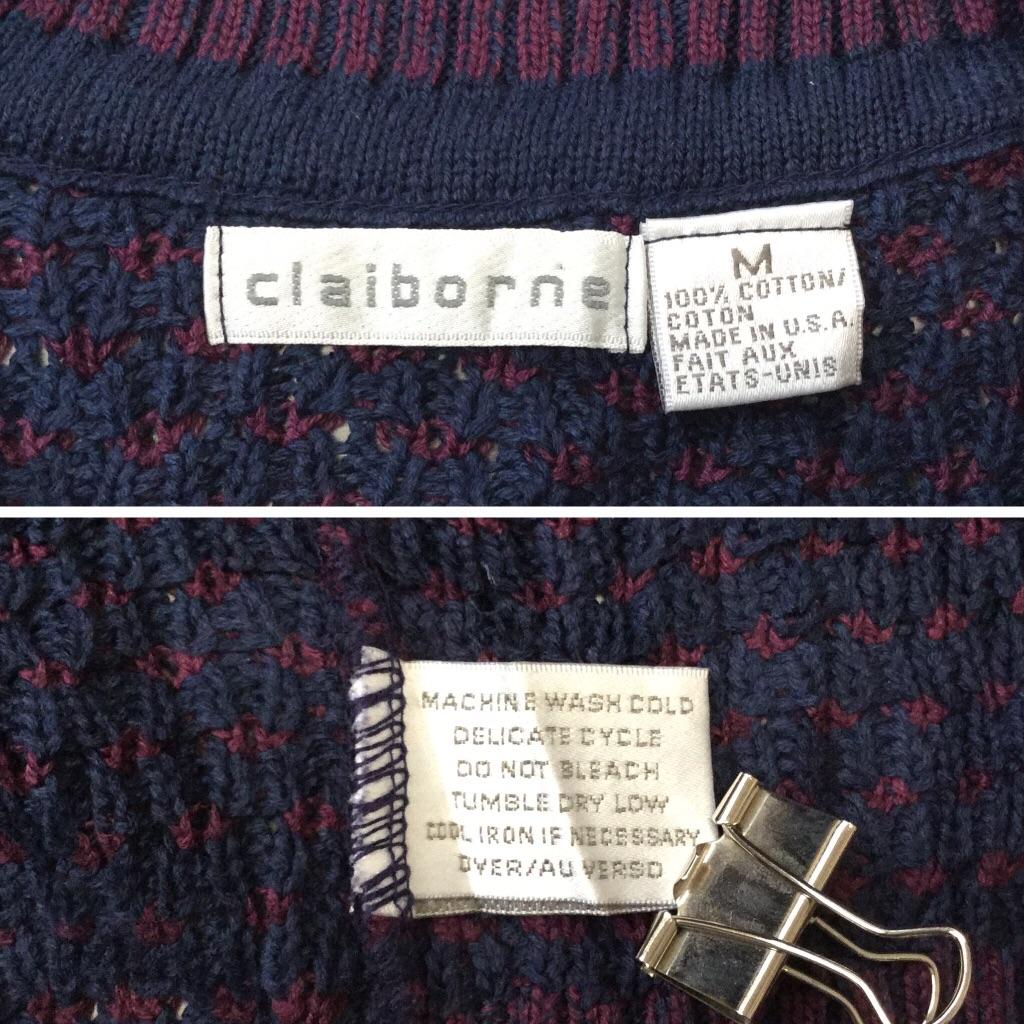 claiborne Vネックセーター アメリカ直輸入 コットンニット 送料無料 メンズ M/紺x紫 MADE IN USA 模様編み トラッド アメカジ モード 3D 古着卸 業販