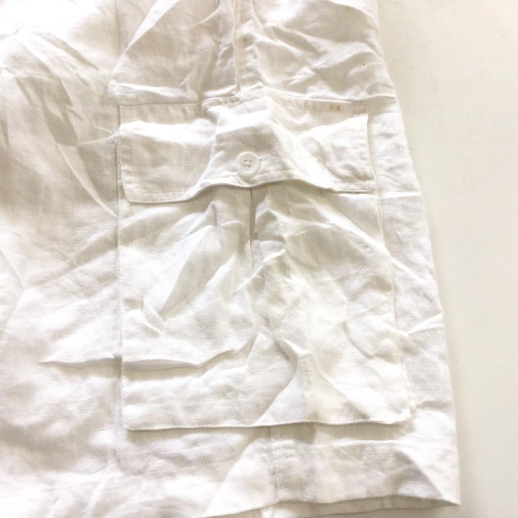 アメリカ直輸入 ショーツ ハーフパンツ 送料無料 メンズ W34/白・ホワイト リネン 麻 短パン イージーパンツ カジュアル USA ショートパンツ 古着卸 業販