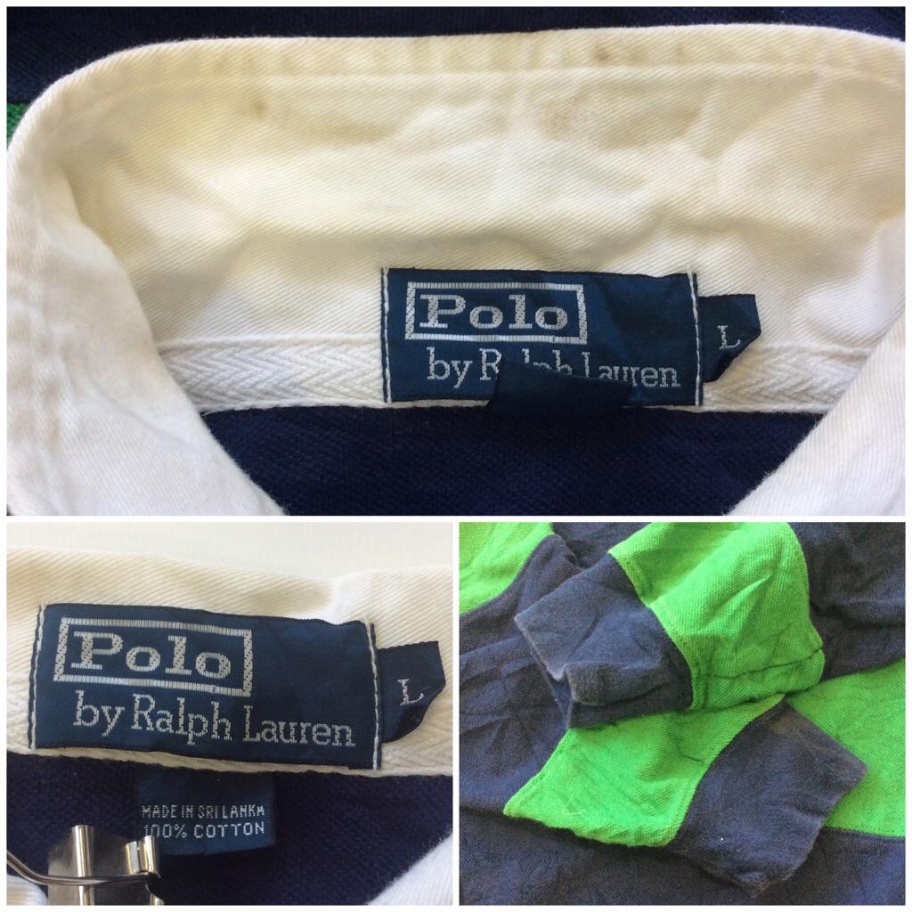 Polo by Ralph Lauren ポロ ラルフローレン 長袖ポロシャツ L/ネイビー・グリーン アメリカ輸入 ブランド 送料無料 アメカジ