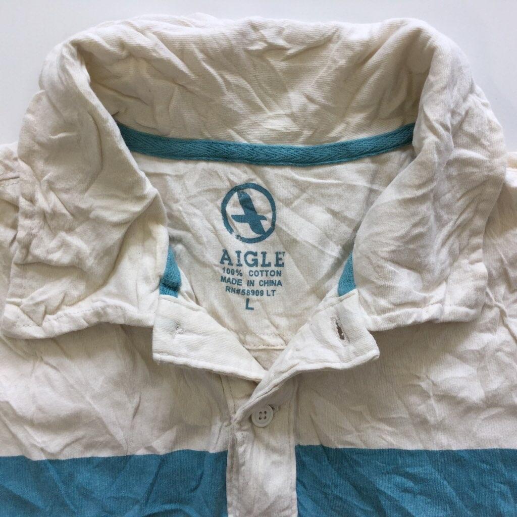 AIGLE エーグル アメリカ輸入 ボーダー 半袖ポロシャツ L/ベージュ 送料無料 ブランド アウトドア スポーツ USA古着