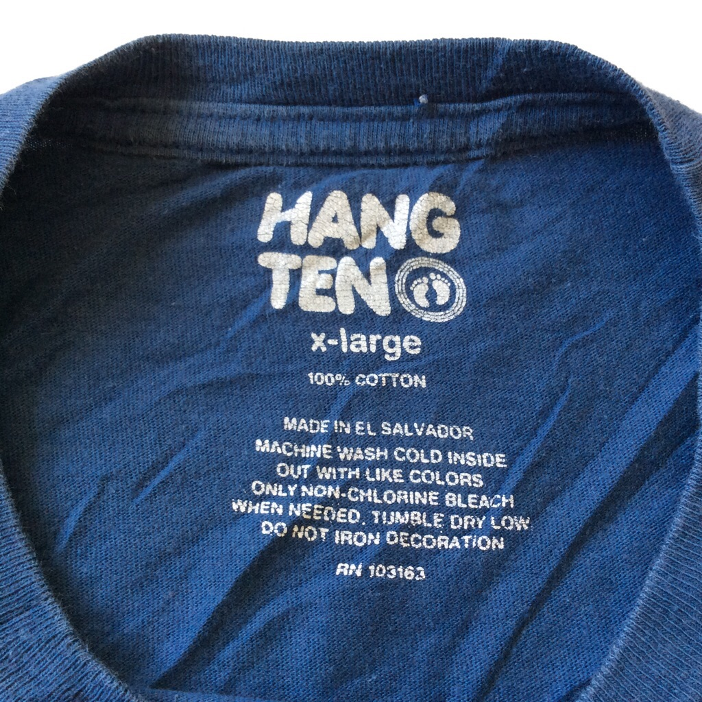 HANG TEN ハンテン 半袖Tシャツ シャーク 鮫 アメリカ輸入 S-M/紺・ネイビー 送料無料 ブランド USA サーフ サーフィン トライバル