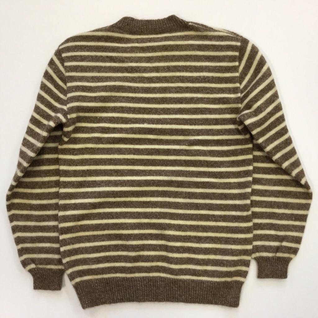 アメリカ古着 ウールセーター ボーダーセーター レディース サイズL程度/ベージュx茶 ニット 古着卸 送料無料 USA