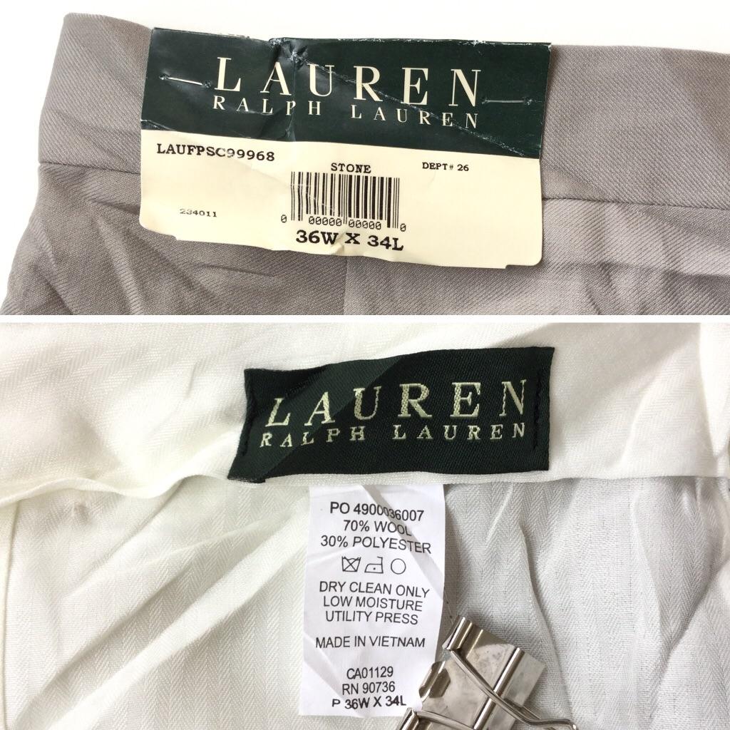 LAUREN RALPH LAUREN ラルフローレン RL 未使用品 アメリカ直輸入 ウールパンツ メンズ 36x34/グレー デッドストック スラックス スーツパンツ ノータック 送料無料 ブランド アメカジ 古着卸 業販
