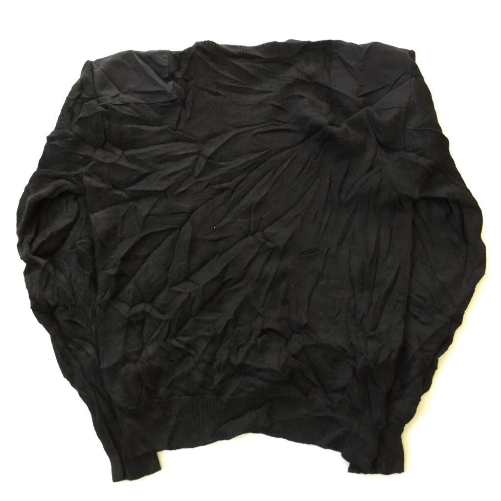 アメリカ古着 ミリタリーセーター アーミー ニット 送料無料 メンズ L相当/黒・ブラック USA アメカジ ARMY 無地 Vネック エポレット 肘当て 古着卸 業販