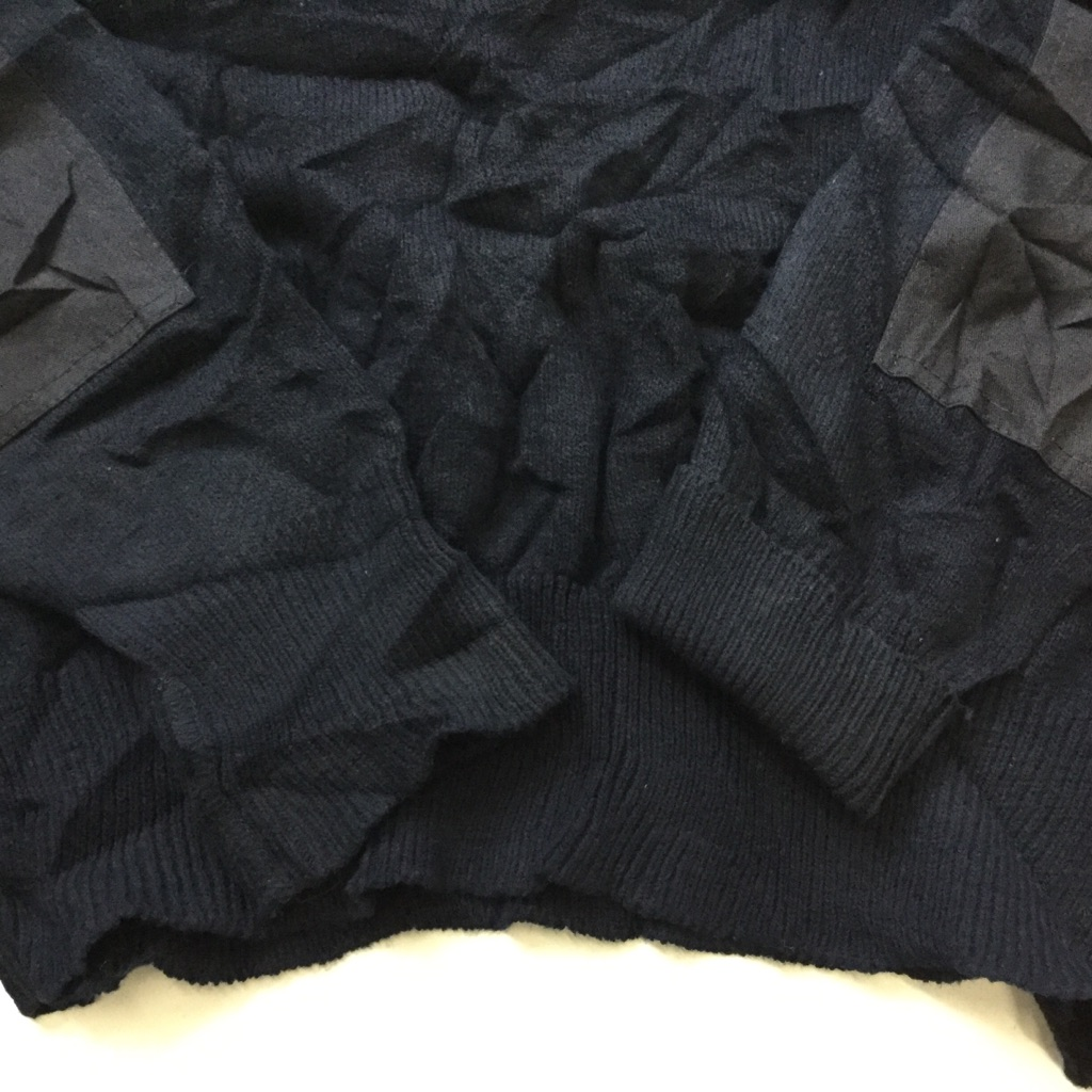 FECHHEIMER ミリタリー調セーター ユニフォーム 送料無料 メンズ XL/紺・ネイビー 制服 Vネック エポレット 肘当て アメカジ 無地 古着卸 業販 大きい ビッグ オーバー
