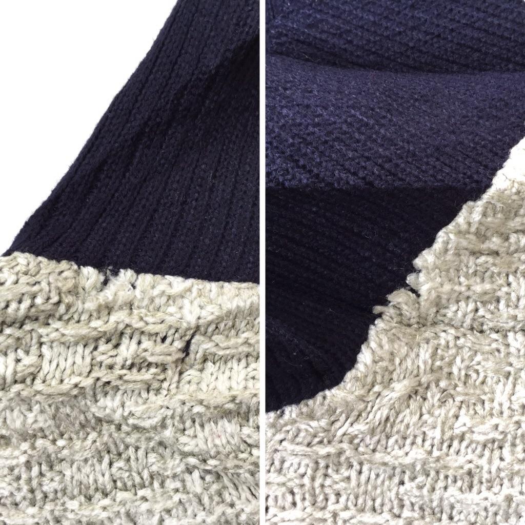 アメリカ古着 襟付きニットセーター クルーネックセーター 送料無料 メンズ L程度/グレー系 ボーダー ストライプ アメカジ トラッド USA 3D 立体編み 古着卸 業販