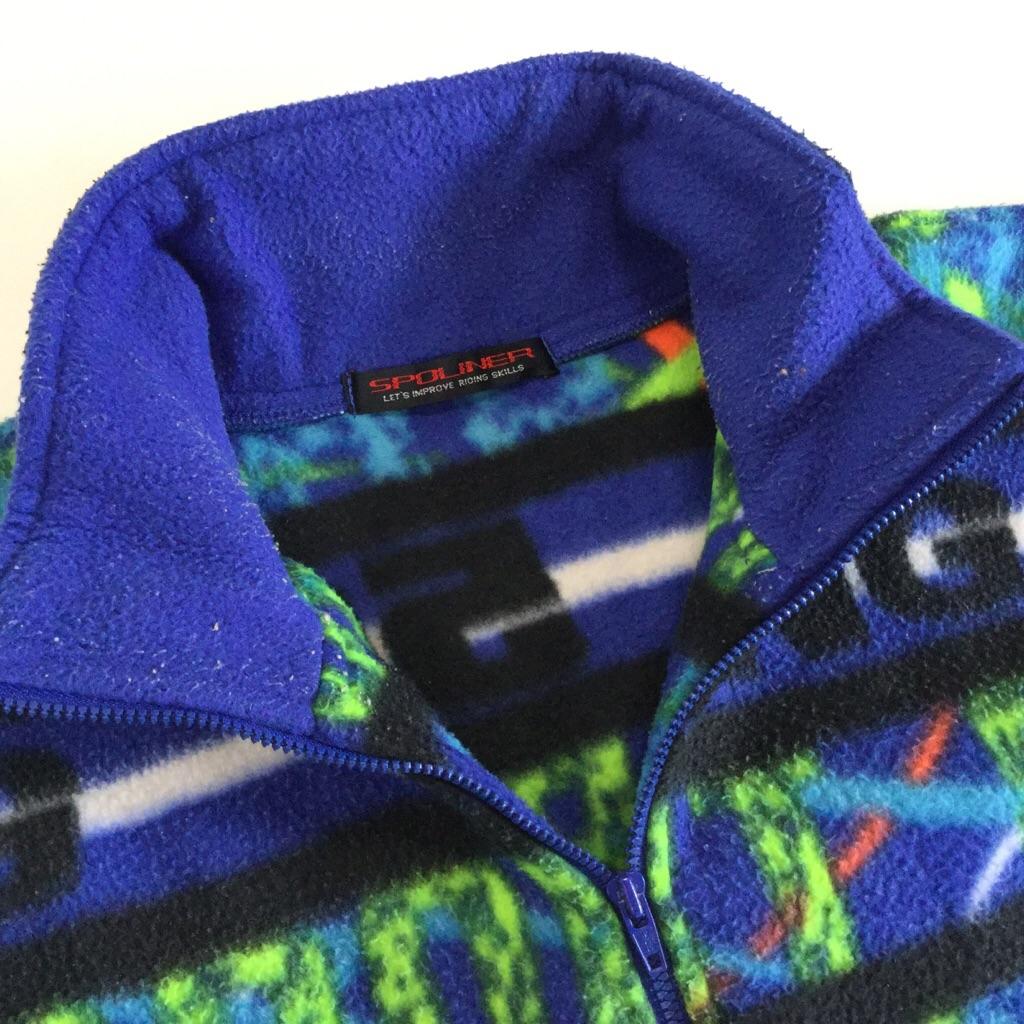 SPOLINER フリースジャケット 国内古着 送料無料 キッズ 150/青x黒x緑系 アウトドア スポーツ 山 ハーフジップ プルオーバー 古着卸 業販